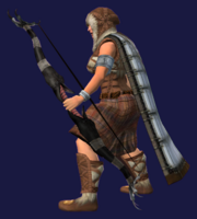 Obsidian War Bow Equipped