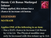 Heroic Crit Bonus Warforged Infuser