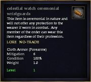 Celestial watch ceremonial wristguards