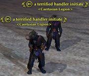 A terrified handler initiate