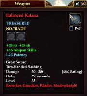 Balanced Katana