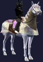 Pink-saddled Dervish Destrier horse