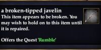 A broken-tipped javelin