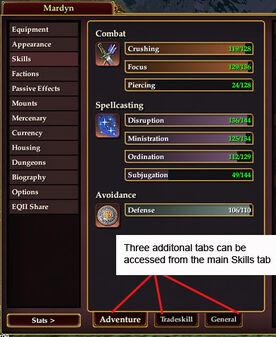 Character Window Skill Tab Details