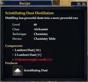 Scintillating Dust Distillation