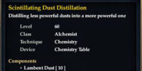 Scintillating Dust Distillation