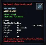 Hardened ebon short sword
