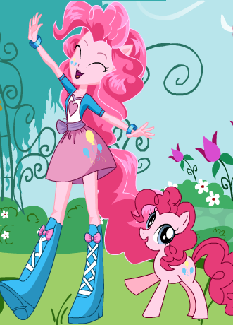 File:FANMADE EqG Pinkie with pony counterpart.png