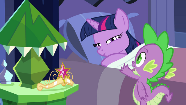 "File:Twilight and Spike ""big day tomorrow"" EG.png"
