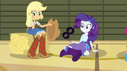 Applejack and Rarity looking at bouncing soccer ball EG2