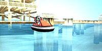Aerodeslizador en el puerto