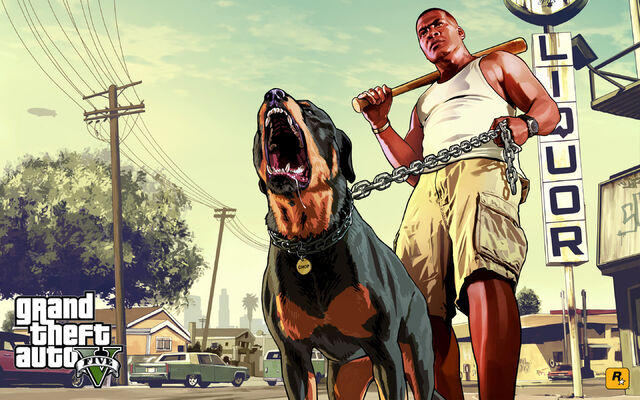Archivo:Official Gta V Artwork Franklin And Chop.jpg