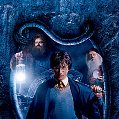 Harry, Hagrid, Dumbledore y Dobby