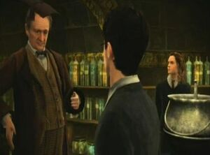 Professor Slughorn, Harry Potter and Hermione Granger.JPG