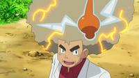 EP790 Rotom electrificando el pelo del profesor Oak