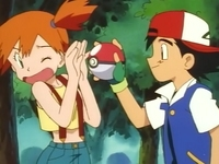Archivo:EP003 Misty rechazando la Poké Ball de Caterpie.png
