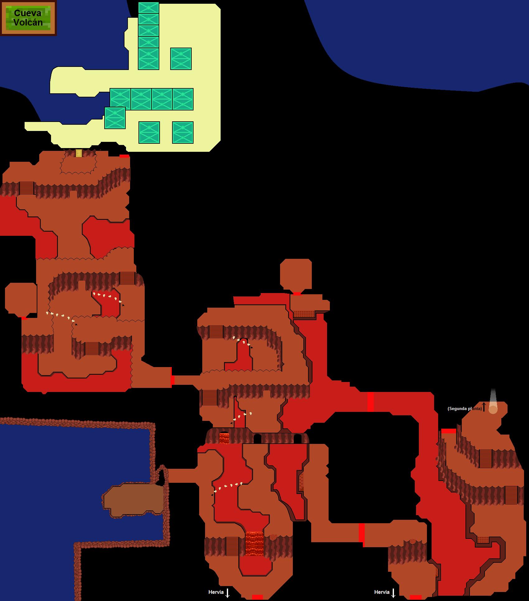 Plano de la primera planta de la Cueva Volcán.