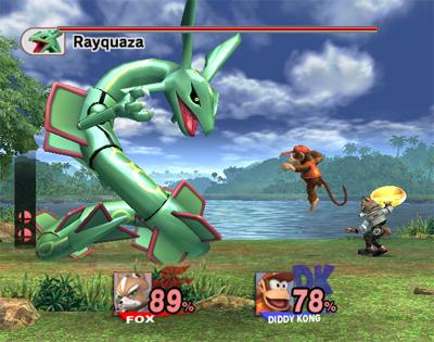 Archivo:Rayquaza luchando contra Fox y Diddy Kong SSBB.jpg