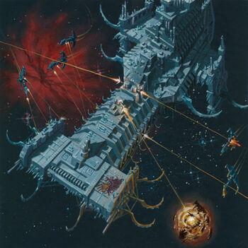 Barcaza de Batalla de Fulgrim Asedio de Terra Caos David Deen ilustración