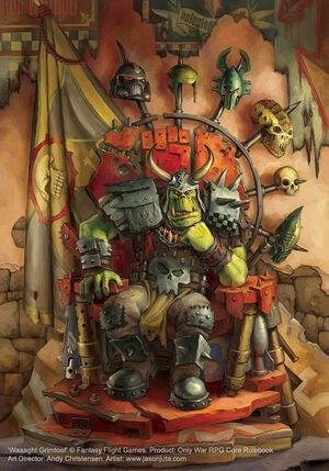 Kaudillo orko grimtoof trono warhammer 40k wikihammer.jpg