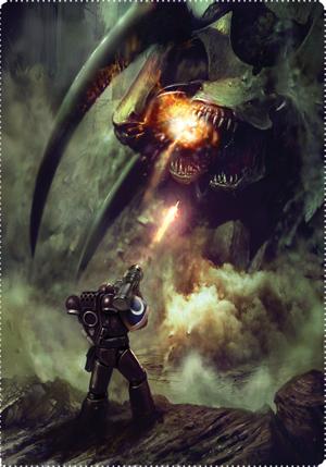 Deathwatch attacking biotitan.png