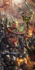 Batalla entre guardianes de la tormenta y tiranidos