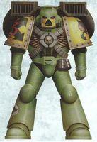 Guerreros Mantis Sargento Veterano Saraken Servoarmadura Mark VII Aquila Asalto Marines Espaciales Astartes Wikihammer.JPG
