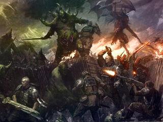 Caos nurgle demonios vs guardia imperial