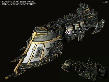 Crucero Ligero Templarios Negros Flota de Escolta Cruzado Eterno Marines Espaciales Astartes Flota Imperial Warhammer 40K Wikihammer