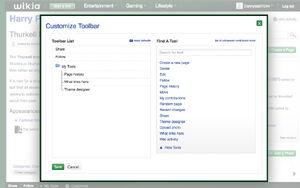 Toolbar customize dialog