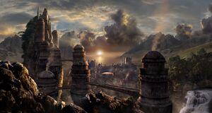 City-scott-richard-concept-art-fantasy-landscape-fiction-fantasy-town-landscape-bridges-tower-mountain-rock-waterfalls-river
