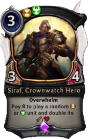 Siraf, Crownwatch Hero