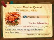 Special Menu. Imperial Manhan Quanxi