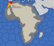 Map showing Morocco's starting position in 1492