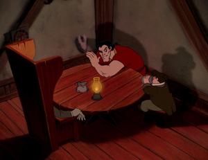 Gaston bargaining with Monsieur D'Arque