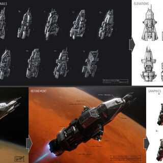 The evolution of the Rocinante: Seth Reed's initial sketch, North Front's early variants, elevations, block-in and refined models, and graphics pass.