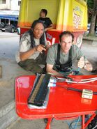 Expendables stuntmen Chris Palermo and Henry Kingi goof off on-set