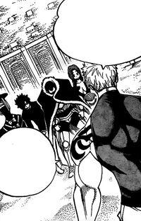 Laxus confronting Raven Tail's Elite