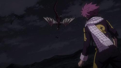 Natsu watches Igneel fall