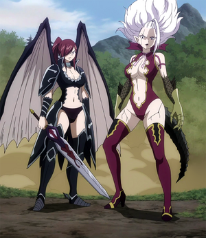 Erza and Mirajane defend Crawford.png