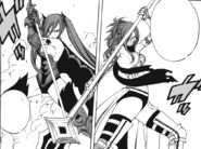 Erza and Erza ready their weapons