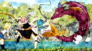 Natsu catches a fish