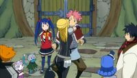 The Group Continues to Watch Lucy Hug Natsu
