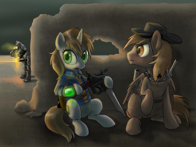 File:41722 safe gun fallout-equestria littlepip artist-dawnmistpony calamity steelhooves.png