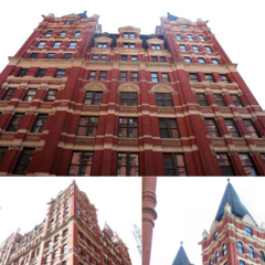 Barrat Building on Haven Street (behind Embank Lane), which became the first Harrods in anywhere except London. The building is massive, spanning eight upstairs floors, two frontage floors (most of the floor dividing them has been removed), an observation deck in each of the four spires, as well as three underground floors, totalling fourteen storeys. The upstairs rooms are largely open to the public, but their stock occupies the greater part of the two uppermost ones (excluding the observation decks, which are open to the public via a payment).