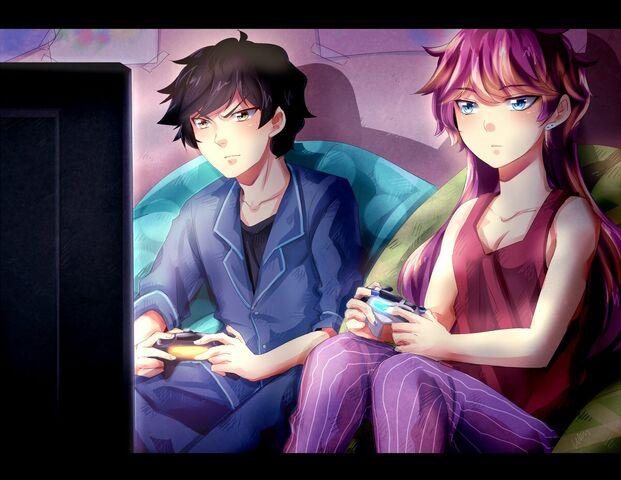 File:John and sera playing PS4.jpg