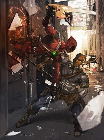 File:Deadpool vs Deathstroke by Aracubus.jpg