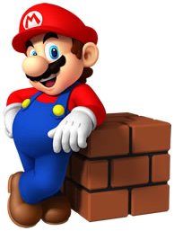 File:Mario leaning at Brick Block.png