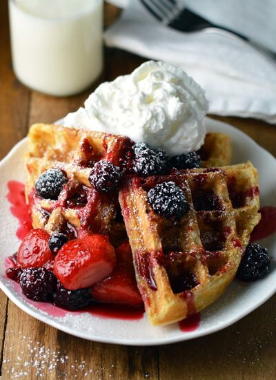 Triple berry waffle