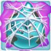 Water grumpy under cobweb on slime